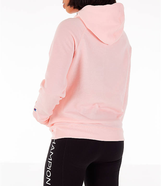 Back Left view of Women's Champion Powerblend Script Logo Hoodie in Primer Pink