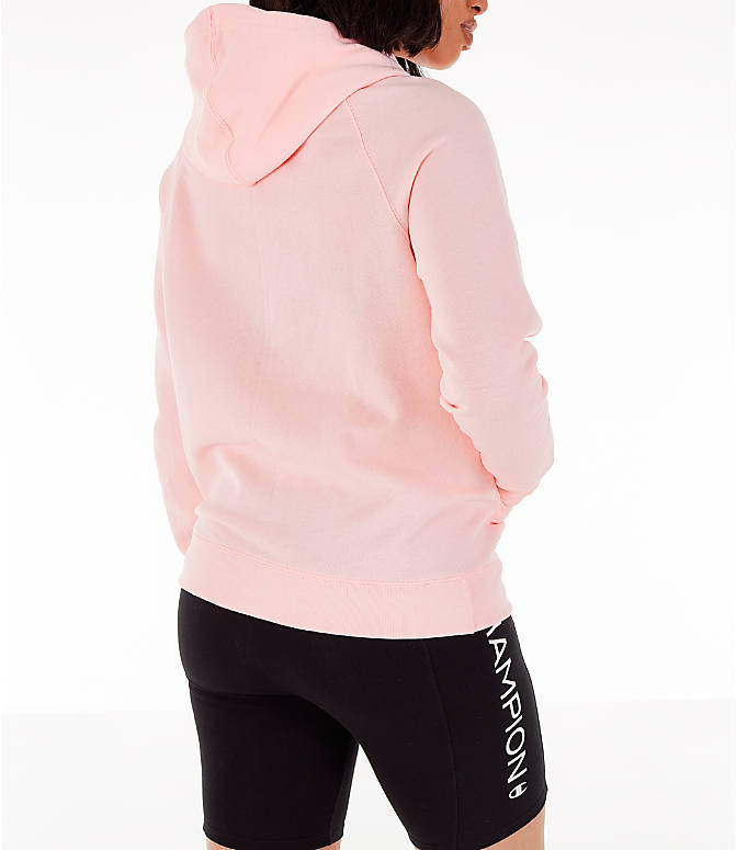 Back Right view of Women's Champion Powerblend Script Logo Hoodie in Primer Pink