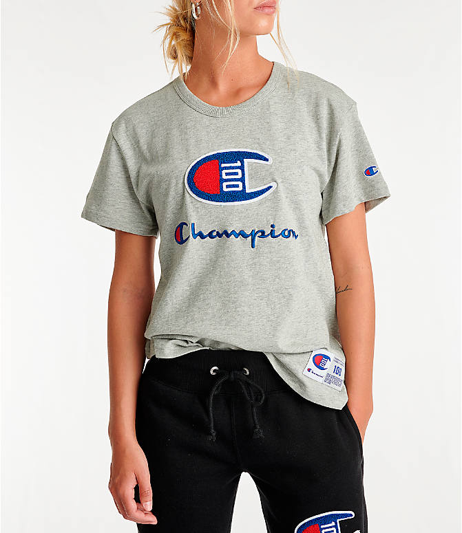 Front view of Women's Champion Century T-Shirt in Oxford Grey