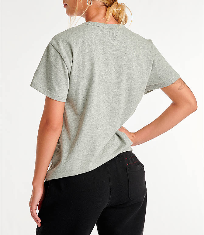 Back Left view of Women's Champion Century T-Shirt in Oxford Grey