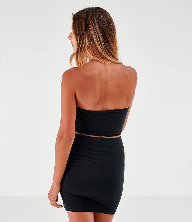 Back Left view of Women's Champion Tube Top in Black