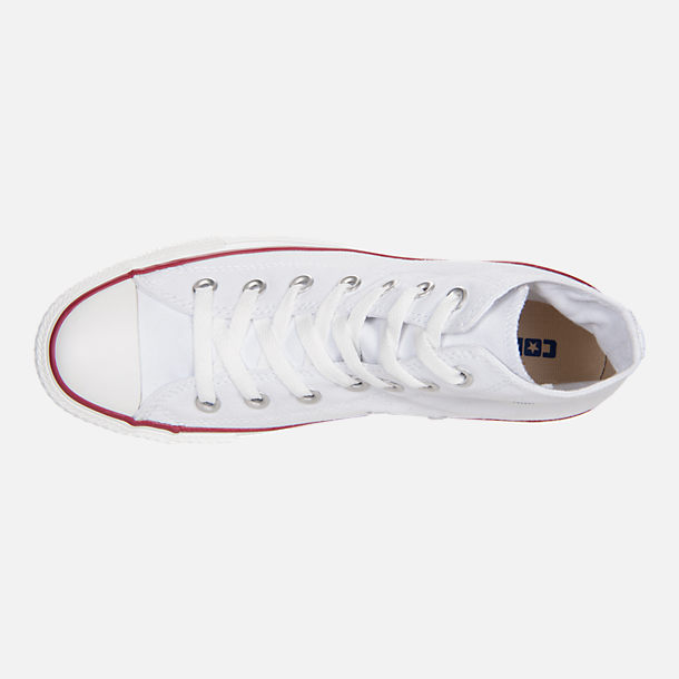 Top view of Women's Converse Chuck Taylor High Top Casual Shoes in Optical White