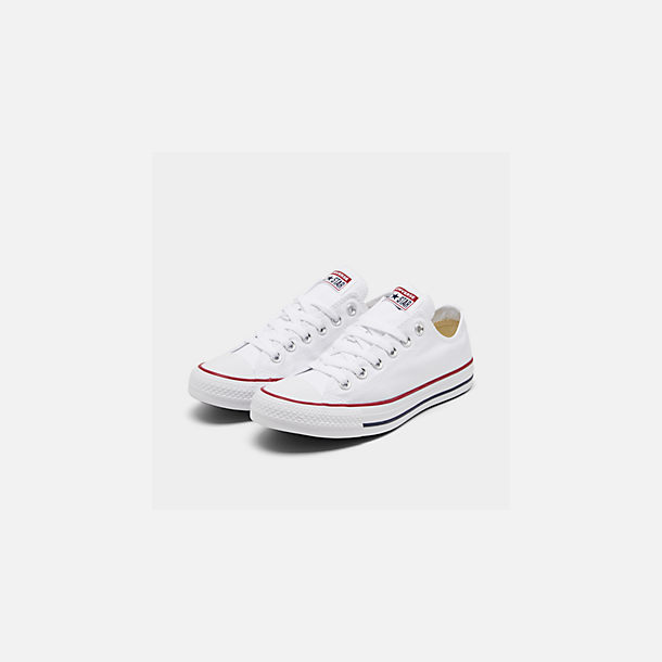 Three Quarter view of Women's Converse Chuck Taylor Low Top Casual Shoes in Optical White