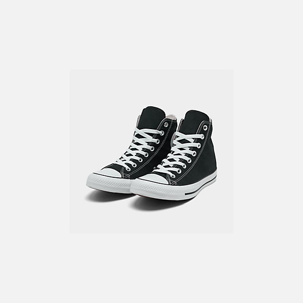 Three Quarter view of Women's Converse Chuck Taylor High Top Casual Shoes in Black