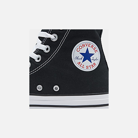 Front view of Women's Converse Chuck Taylor High Top Casual Shoes in Black