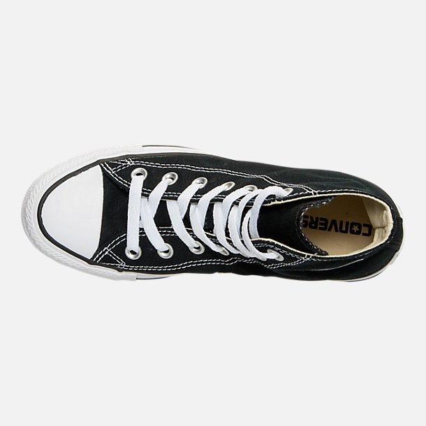 Top view of Women's Converse Chuck Taylor High Top Casual Shoes in Black