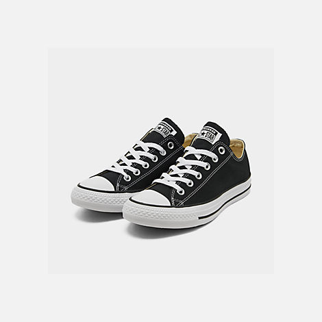 Three Quarter view of Women's Converse Chuck Taylor Low Top Casual Shoes in Black
