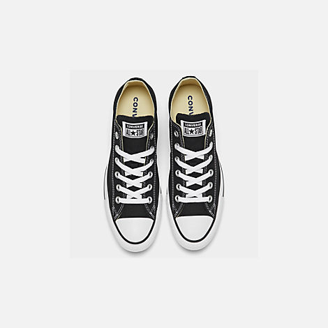 Back view of Women's Converse Chuck Taylor Low Top Casual Shoes in Black