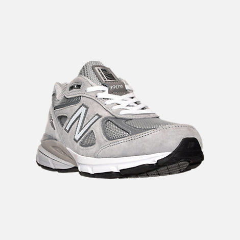 Three Quarter view of Women's New Balance 990 v4 Running Shoes in Grey