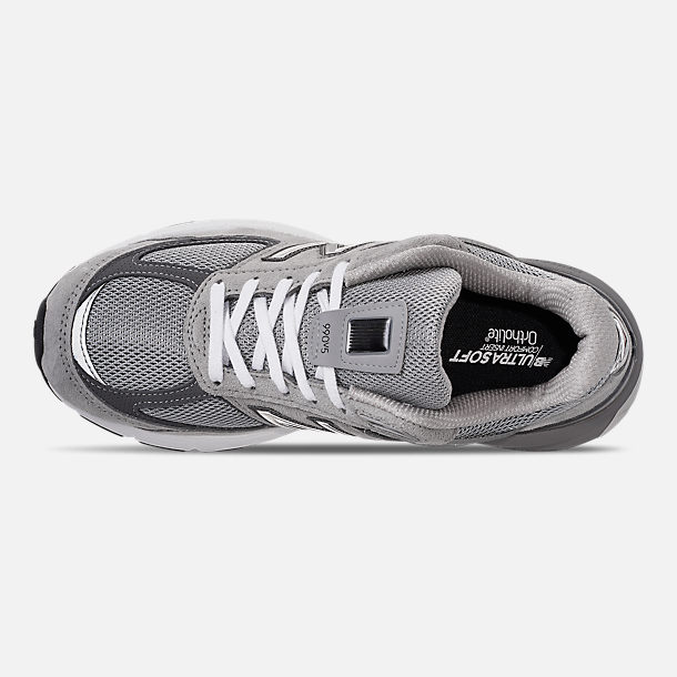 Top view of Women's New Balance 990 V5 Casual Shoes in Grey/Castle Rock