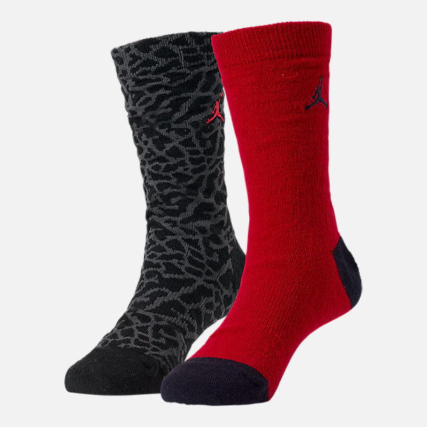Front view of Kids' Air Jordan Elephant Print 2-Pack Crew Socks in Red/Black/Grey