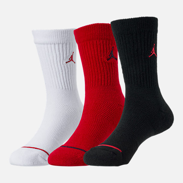 Front view of Kids' Jordan 3-Pack Crew Socks in Black/White/Red