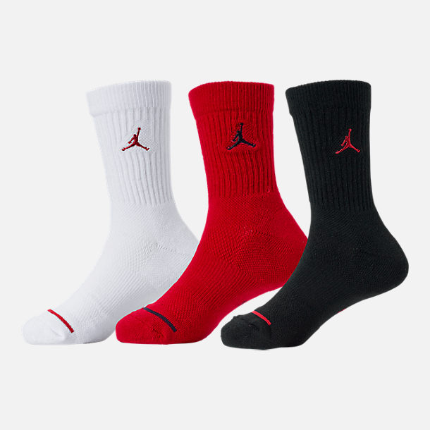 Back view of Kids' Jordan 3-Pack Crew Socks in Black/White/Red