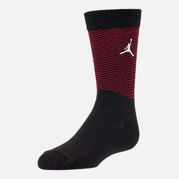 Front view of Kids' Air Jordan Retro 11 Mold 2-Pack High Crew Socks in Grey/Black/Red