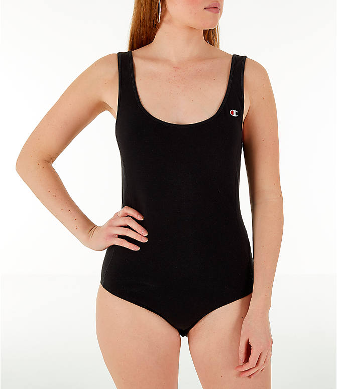 Front Three Quarter view of Women's Champion Tank Bodysuit in Black