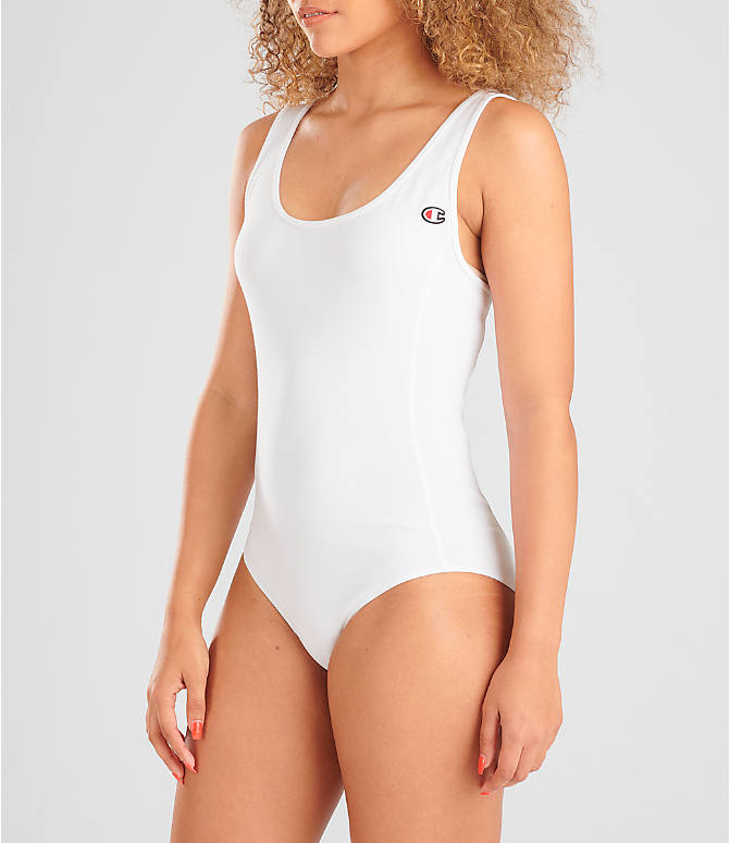 Front Three Quarter view of Women's Champion Tank Bodysuit in White