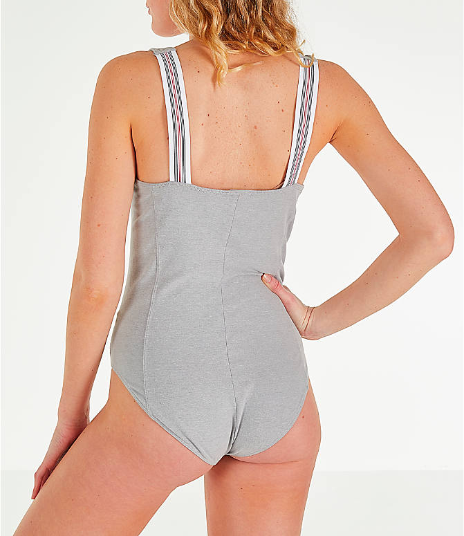 Back Left view of Women's Champion Tank Bodysuit in Oxford Grey
