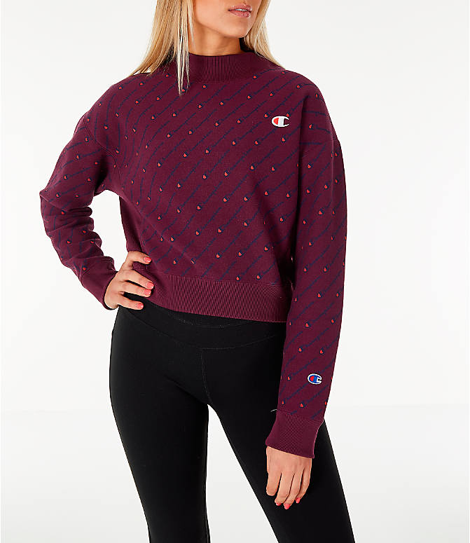 f8726460 Front view of Women's Champion Reverse Weave Script Logo Mock Neck Crop  Sweatshirt in Berry/