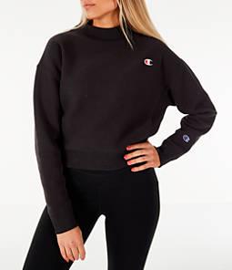 Women's Champion Reverse Weave Mock Neck Crop Sweatshirt