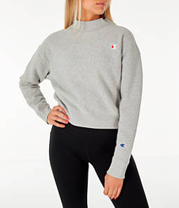 Women's Champion Reverse Weave Mock Neck Crop Sweatshirt