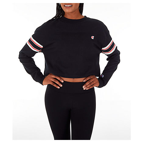 Champion CHAMPION WOMEN'S LONG-SLEEVE CROP T-SHIRT IN BLACK SIZE X-LARGE COTTON