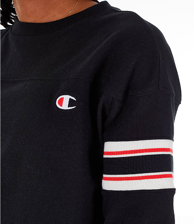 Detail 1 view of Women's Champion Long-Sleeve Crop T-Shirt in Black