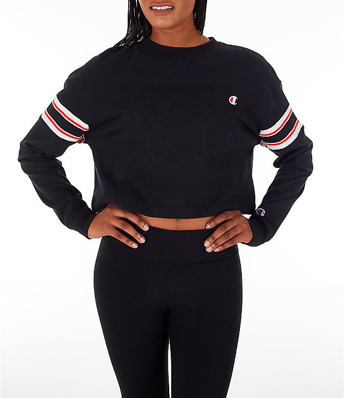 Front view of Women's Champion Long-Sleeve Crop T-Shirt in Black