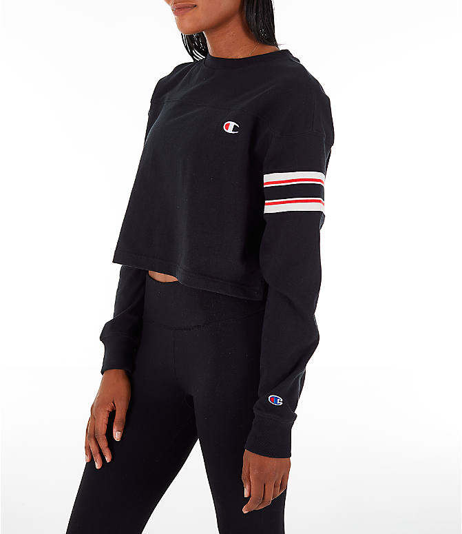 Front Three Quarter view of Women's Champion Long-Sleeve Crop T-Shirt in Black