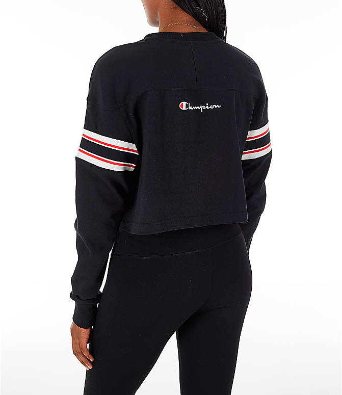 Back Left view of Women's Champion Long-Sleeve Crop T-Shirt in Black