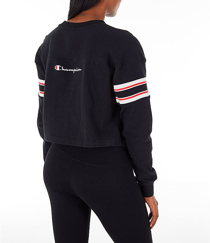 Back Right view of Women's Champion Long-Sleeve Crop T-Shirt in Black