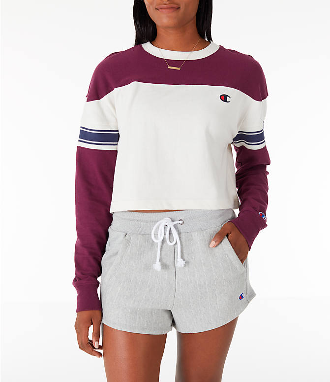 Front view of Women s Champion Long-Sleeve Crop T-Shirt in Cream Berry 85c6f255c