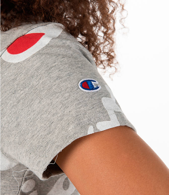 Detail 2 view of Women's Champion Exploded Logo Crop T-Shirt in Grey/Red