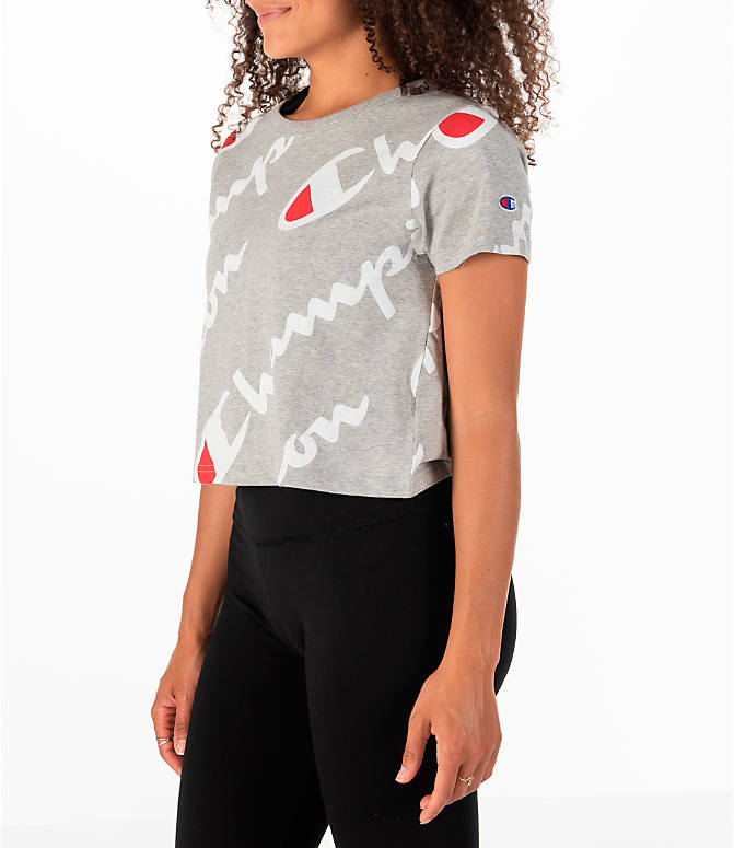 Front Three Quarter view of Women's Champion Exploded Logo Crop T-Shirt in Grey/Red