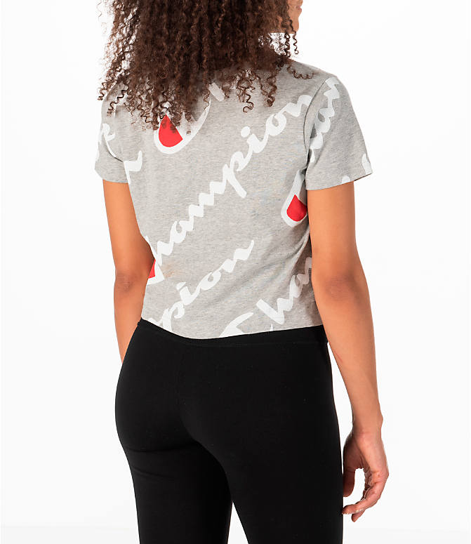 Back Right view of Women's Champion Exploded Logo Crop T-Shirt in Grey/Red