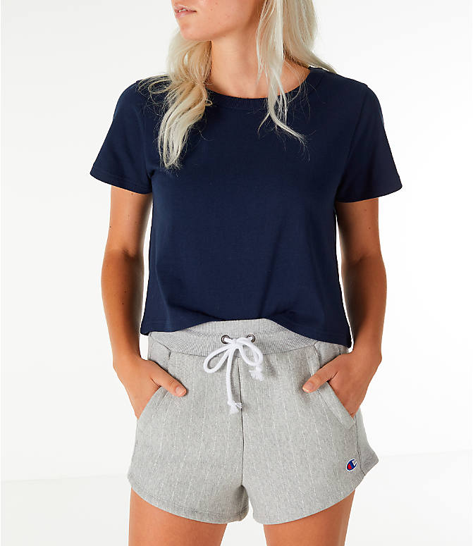Front view of Women's Champion Crop T-Shirt in Navy