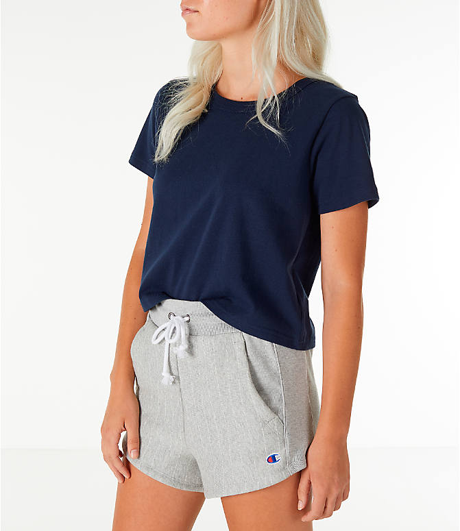 Front Three Quarter view of Women's Champion Crop T-Shirt in Navy