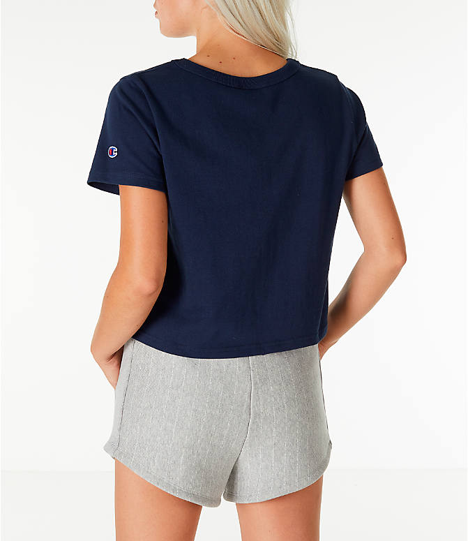 Back Left view of Women's Champion Crop T-Shirt in Navy