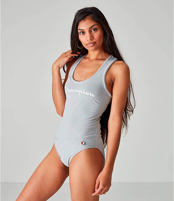Front view of Women's Champion Life Everyday Bodysuit in Oxford Grey