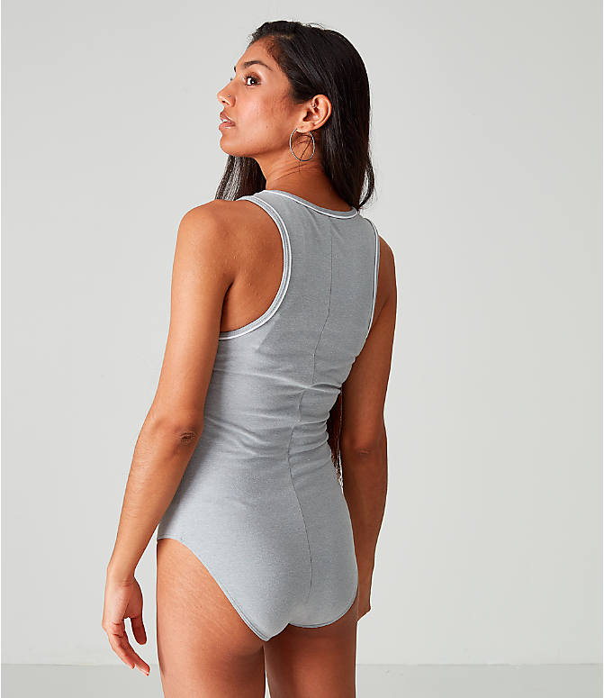 On Model 5 view of Women's Champion Life Everyday Bodysuit in Oxford Grey