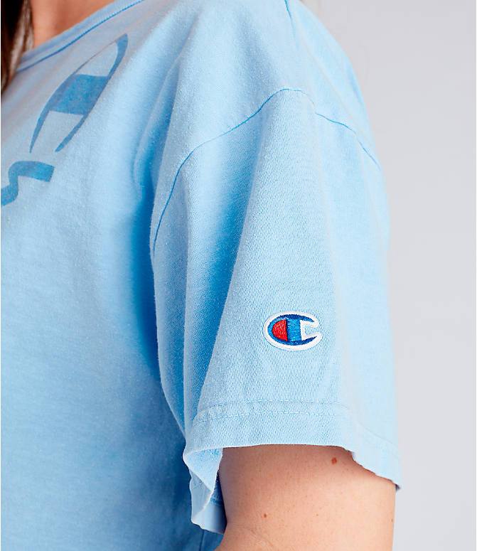 c4c2fdfd3fe Detail 2 view of Women's Champion Garment Dyed Cropped T-Shirt in  Oceanfront Blue