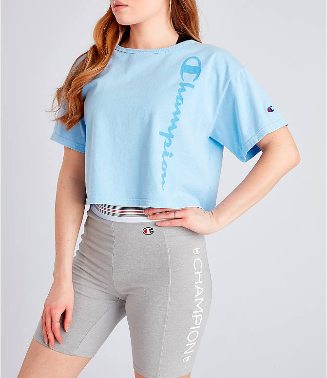 6b9401b113d Front view of Women's Champion Garment Dyed Cropped T-Shirt in Oceanfront  Blue