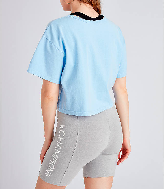 3650bc4c73d Back Left view of Women's Champion Garment Dyed Cropped T-Shirt in  Oceanfront Blue