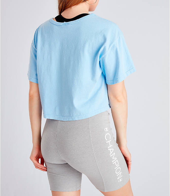 f96c7009984 Back Right view of Women's Champion Garment Dyed Cropped T-Shirt in  Oceanfront Blue