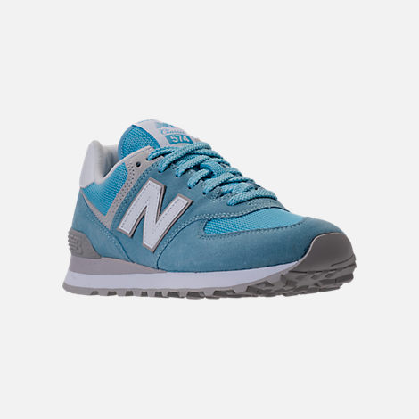 Three Quarter view of Women's New Balance 574 Backpack Casual Shoes in Clear Sky