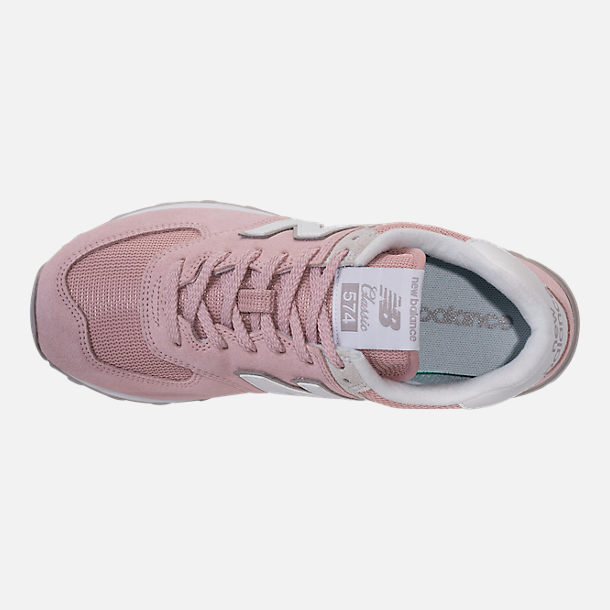 Top view of Women's New Balance 574 Casual Shoes in Faded Rose