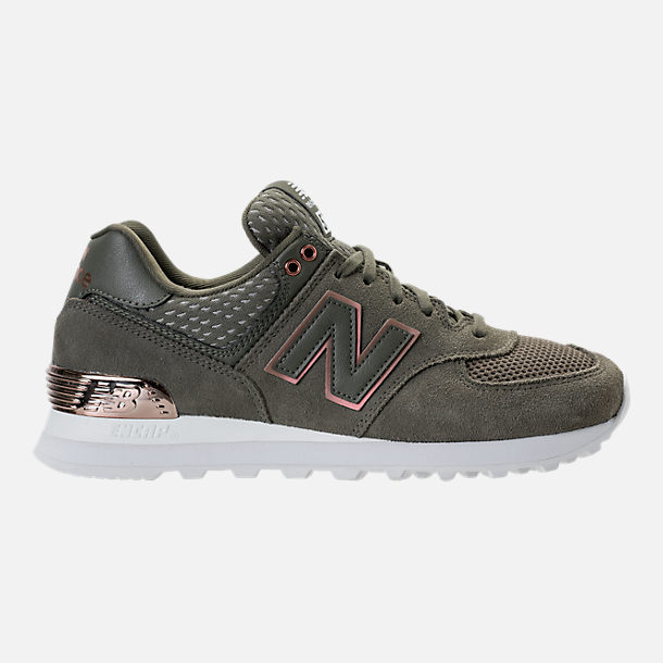 Right view of Women's New Balance 574 Rose Gold Casual Shoes in Foliage Green/Rose Gold