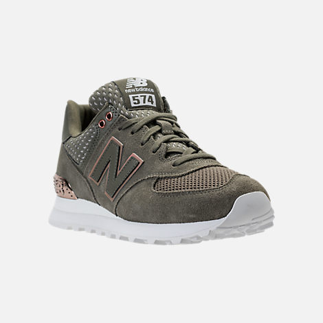 Three Quarter view of Women's New Balance 574 Rose Gold Casual Shoes in Foliage Green/Rose Gold