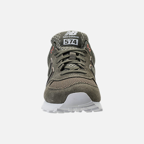 Front view of Women's New Balance 574 Rose Gold Casual Shoes in Foliage Green/Rose Gold