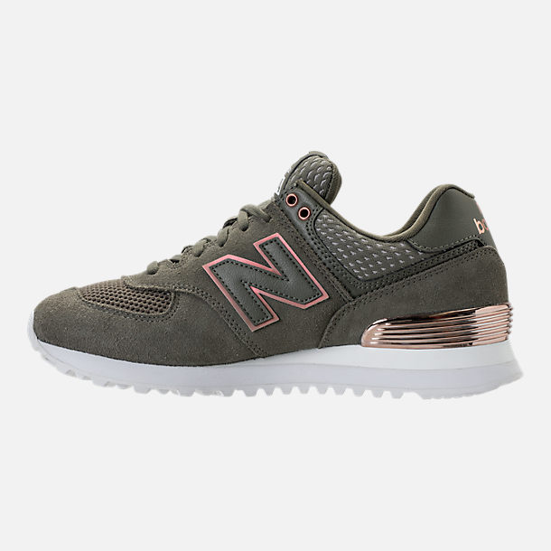 Left view of Women's New Balance 574 Rose Gold Casual Shoes in Foliage Green/Rose Gold