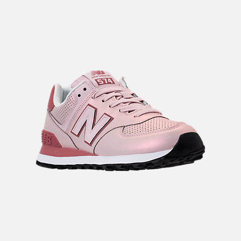Three Quarter view of Women's New Balance 574 Iridescent Casual Shoes in Conch Shell